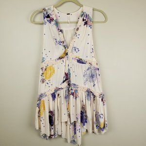 Free People Tunic Sleeveless Blouse Floral XS